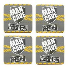 Set 4 Man Cave Drinks Beer Grey & Yellow Workman Leonardo Collection Coasters
