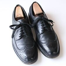 Hanover LB Sheppard Black Pebble Grain Leather Wingtip Oxford Shoes USA 10 1/2 C