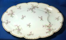 Haviland Limoges China Schleiger 29K pattern turkey platter with wells double go