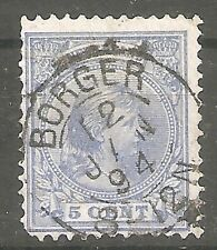 nederland  35 gestempeld  c.w.  €  12,50 kleinrond Borger 12 jan 1894