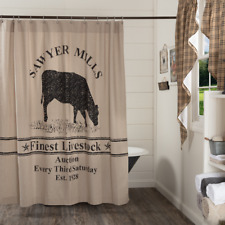 SAWYER MILL Cow Shower Curtain Charcoal Farmhouse Grazing Feed Sack VHC Brands