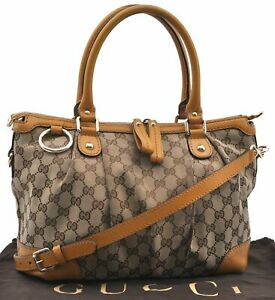 Auth GUCCI Sukey Shoulder Tote Bag GG Canvas Leather 247902 Brown Yellow D9644