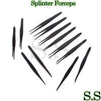 "12 Black Color Splinter Forceps Surgical Nurses Paramedic First Aid EMS EMT 4.5"""