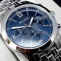 Bulova Orologio Cronografo Uomo Blue Movement Miyota JS20 Men's NUOVO GARANZIA