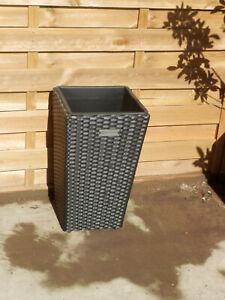 Rattan Style Planter Flower Pot 50cm Black 15L