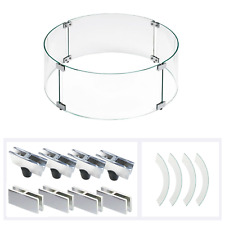 "American Fireglass Round Fire Pit Wind Flame Guard Tempered Glass 23"" diameter"