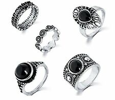GirlZ!Steampunk Turkish Antique Nature  Blue Stone Midi Finger 5Pcs Rings Set