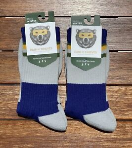 Pair of Thieves 2 pairs Men's Striped Casual Socks Gray/Blue/Gold 8-12 (2 PACK)
