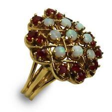 Ladies Vintage 9 Opals + 14 Rubies Ring 14K Yg