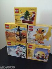NIB 5 LEGO Seasonal sets- 40091 Turkey, 40093 Snowman,40202 Easter, Santa Magnet