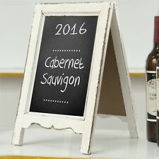 Small Wood A-Frame Double-Sided Chalkboard Sign, Whitewashed Table Top Rustic.