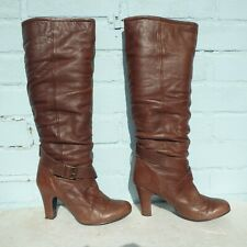 Topshop Leather Boots Size Uk 6 Eur 39 Womens Ladies Shoes Pull on Buckles Brown