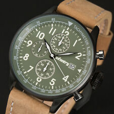 Infantry Mens Quartz Wrist Watch Chronograph Date Sports Military Brown Leather Green