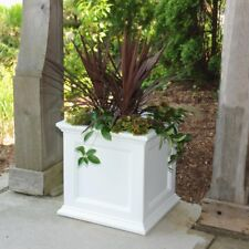 Floor Planter 20 in. Square Plastic in White with Sub-Irrigation Water System