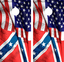 American Flag Combo Cornhole Board Skin Wrap Decal Set of 2 -LAMINATED