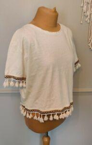 River Island Cropped Tassel T-Shirt UK10 Boho Festival Summer Embroidered