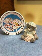 1993 Home Sweet Home Calico Kittens Enesco & small decorative plate w/ stand