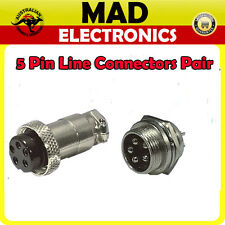 5 Pin Female and Male Plug Chassis Mount Connectors Pair Power Micphone
