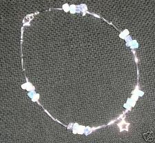 RAINBOW MOONSTONE & TIBETAN SILVER DANGLY STAR ANKLET