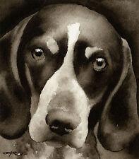 Bluetick Coonhound Art Print Sepia Watercolor 11 x 14 by Artist DJR