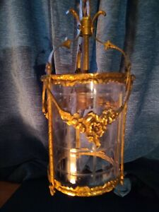 Antique Brass Pendant Light With Original Glass Portcullis Engraved Shade