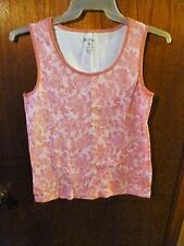 Woman's White Stag 100% Cotton Sleeveless White & Pink Floral Top Size M