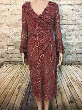 Express Silk Dress 5/6 Bell Pixie Sleeves Paisley Print Career Work 4-19