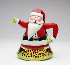 Cosmos Gifts Ceramic Christmas Santa Teapot Leopard Print Design Red Yellow New