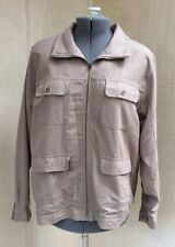 Vtg Cervelle L Brown 100% Silk Windbreaker Jacket Zip Up Lightweight Raw Tan