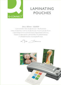 10 PACK BUNDLE of A4 Q-Connect 160 Micron Laminating Pouches Pouch