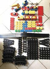 Lot Duplo Lego Briques / Figurines / Rails / Pont / Trains / Véhicules / Bateau