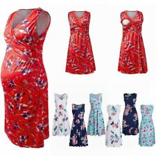 Materity Breastfeeding Floral Dress Summer Sleeveless Casual Nursing Clothing