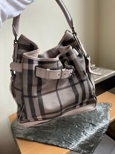 BURBERRY SMOKED CHECK WALDEN HOBO BELTED TRENCH HANDBAG LARGE