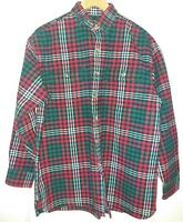 VTG Mens IVY CREW Red/White/Green Checked Thick Flannel Shirt Size Medium
