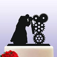 Acrylic Steampunk Gears Theme Bride & Groom Wedding Cake Topper Decoration