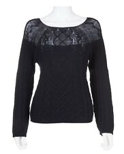 Max Mara Black Wool Cashmere Cable Knit Sweater Size L Large