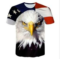 3D eagle Graphic Print Men us flag Casual T-Shirt Short Sleeve Tee Tops 595