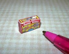 Miniature Red Animal Cookies Crackers Box: Dollhouse Miniatures 1:12 Scale