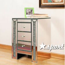 Sparkly Mirrored Crushed Crystal 3 Drawer Bedside Cabinet Table Chest of Drawers