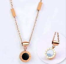 White Black Nature Shell Rose Gold Stainless Steel Round Pendant Necklace PE12
