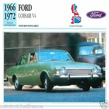 FORD CORSAIR V4 1966 1972 CAR VOITURE GREAT BRITAIN GRANDE BRETAGNE CARD FICHE