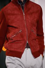 HERMES burgundy suede cashmere zip collar knit bomber jacket sweater cardigan XL
