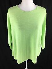 J. Jill Womens Knit Pull On Sweater Sz XL Petite Green Linen Blend 3/4 Sleeve