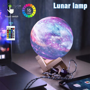 16 Colors 3D Moon Lamp USB LED Night Light Star Galaxy Touch Changing + Remote