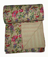 Kantha Quilt -ON SALE indian sari kantha quilt floral kantha quilt bedding Throw