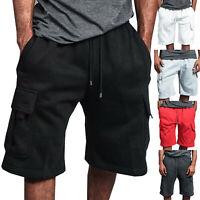 New Mens Cargo Shorts Jogger Cotton Summer Gym Running Sweat Short Pants Bottoms