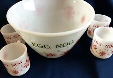 Fire King Egg Nog Christmas Punch Bowl Red Snowflakes Mixing 4 Mugs Cup Vintage