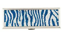 Judith LEIBER Mirror Slim Pocket White Turquoise Blue ZEBRA Stripes Silver NEW