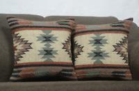 2 Set of Wool Jute Cushion Cover Throw Indian Vintage Handmade Kilim Rug Pillows