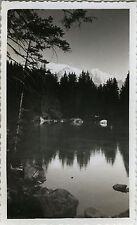 PHOTO ANCIENNE - VINTAGE SNAPSHOT - MONTAGNE LAC VERT REFLET HAUTE SAVOIE - LAKE